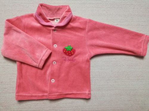 Кофта ясельная велюровая на кнопках, вышивка, размер 44, 52 (0960-09)