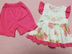 Комплект платье + шорты, вышивка, кулир пенье, рост 74 (0638-01)