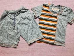 Комплект, футболка + бриджы, кулир меланж, размер 26 (0986-01)