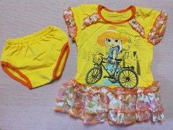 Комплект для девочек, платье+трусики, кулир, размер 52 (0330-01)