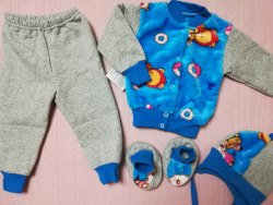 Комплект комбинированный, кофта на кнопках + шапка+ штанишки+ пинетки, вельсофт, трехнитка, рост 74 (0569-03)
