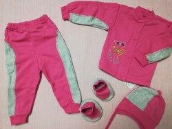 Комплект комбинированный : кофта на кнопках, штанишки, шапочка, пинетки, начес, вышивка, рост 68 (0822-01)