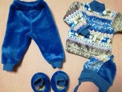 Комплект кофта на кнопках + штанишки + шапочка + пинетки, велсофт, рост 62 (0570-02)