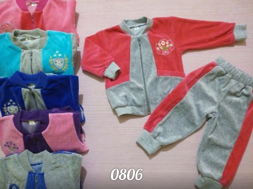 Костюм комбинированный с карманами, велюр, вышивка (0806)