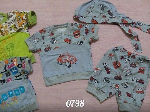 Комплект комбинированный для мальчиков : футболка с вышивкой на кнопках, шорты, бандана, кулир (0798)