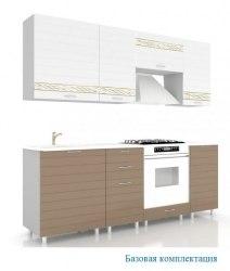Анастасия Тип-3 кухня (Белый глянец/Капучино)