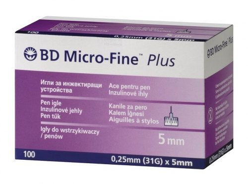 Иглы BD Micro-Fine Plus 5 mm 31G 100 шт. Becton Dickinson (Бектон Дикинсон) №100