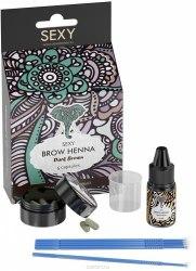 Набор: Краска хна - Коричневая (5 капсул) + Минеральный раствор 10 мл Sexy Henna Brow Коричневая