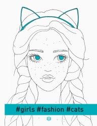#girls#fashion#cats / Розмальовка
