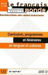 Recherches et applications № 49: Curriculum, programmes et itinéraires en langues et cultures / Методичний посібник