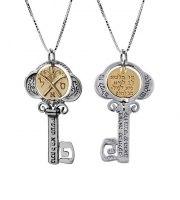 Ключ Изобилия 925 Стерлинг Серебро, 9K золото Jerusalem.