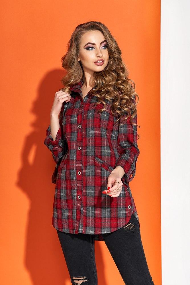 97b44fb648e Купить женскую рубашку в клетку с длинным рукавом