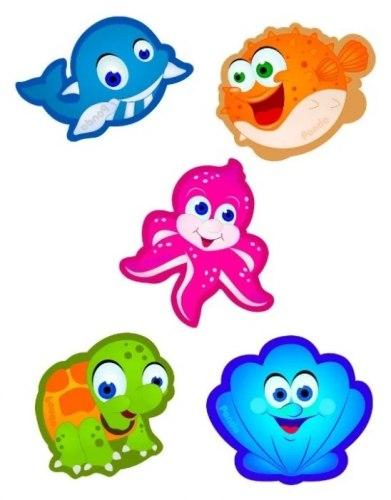"""Набор мини-ковриков для ванны """"Подводные обитатели"""" (на присосах), 5 шт PondoKids, Россия"""