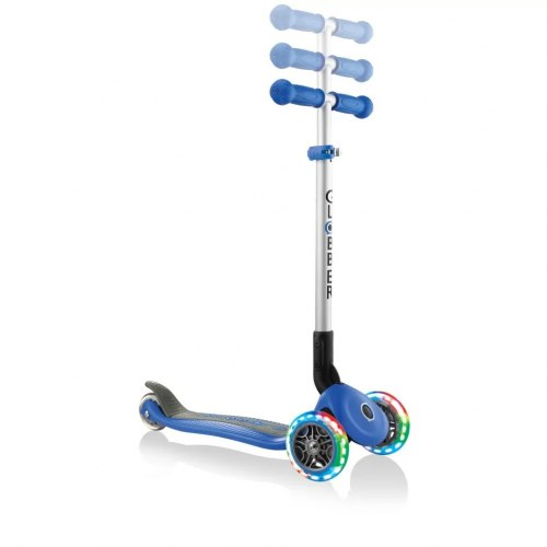 Самокат трехколесный Globber Primo Foldable Lights (синий)