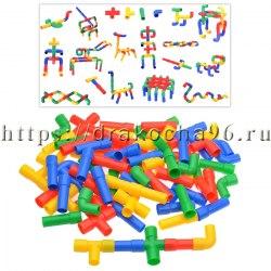 Конструктор развивающий 77 деталей трубочки в пакете