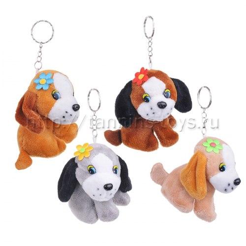 Брелки собачки щенки с цветочком