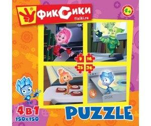 Фиксики. Пазлы для Малышей. Набор 4 в 1 на 9-16-25-36 элементов Origami
