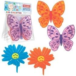 Набор мини ковриков Valiant Микс Бабочки-цветочки на присосках 4 шт VALIANT