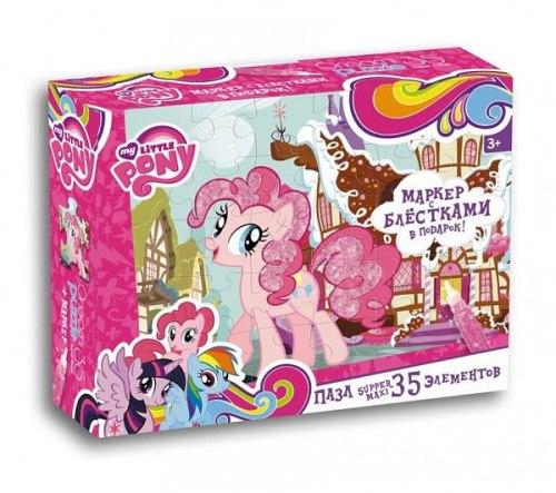 """Макси Пазлы """"My Little Pony"""" в ассортименте (35 элементов) + маркер с блестками Origami"""
