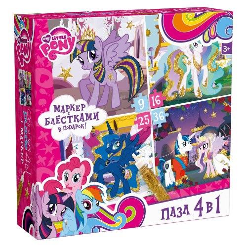 "Пазлы 4-в-1 ""My Little Pony"" в ассортименте + маркер с блестками Origami"