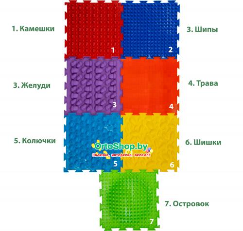 """Коврик """"ОРТО"""" Микс 7 пазлов """"Радуга"""" Ортодон + подарок"""