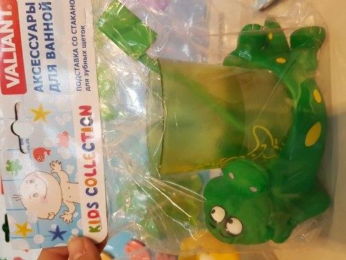 """Подставка со стаканом для зубных щеток """"Крокодильчик"""" VALIANT"""