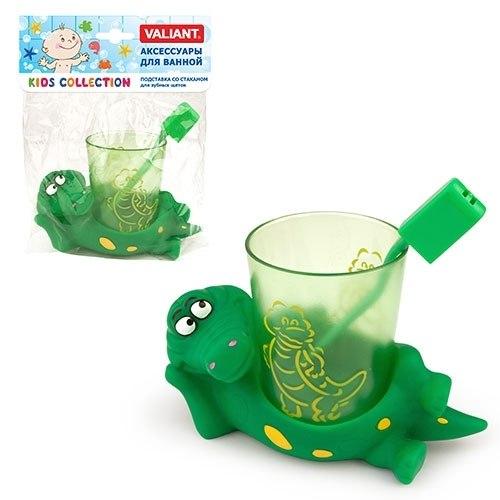 Подставка со стаканом для зубных щеток Крокодильчики Valiant VALIANT
