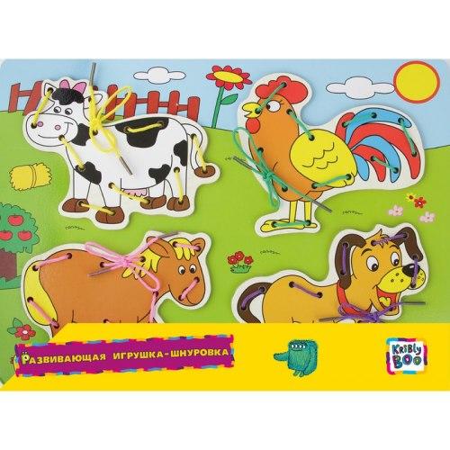 Развивающая игрушка-шнуровка Ферма Kribly Boo