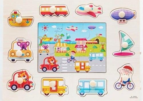 Пазл-вкладыш 16 элементов для малышей Транспорт или Рыбалка