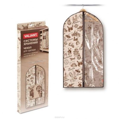 """Чехол для хранения одежды малый Valiant """"Travelling"""", подвесной, цвет: бежевый, 60 х 100 см VALIANT"""