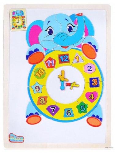 """Магнитная Мозаика """"Слоненок"""" или """"Жираф"""" с часами"""