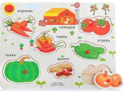 """Деревянный пазл для малышей """"Овощная корзина"""""""