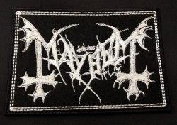 MAYHEM - White Logo Нашивка Black Metal