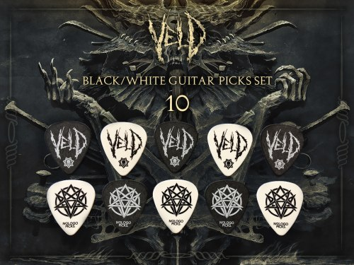 VELD - 10 Black / White Guitar Picks Set медиаторы Death Metal