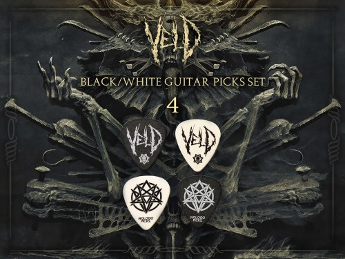 VELD - 4 Black / White Guitar Picks Set медиаторы Death Metal