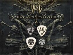 VELD - 4 Black / White Guitar Picks Set медиаторы Death Metal