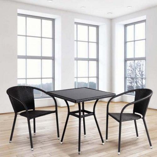 Обеденный комплект плетеной мебели из искусственного ротанга Brown 2Pcs
