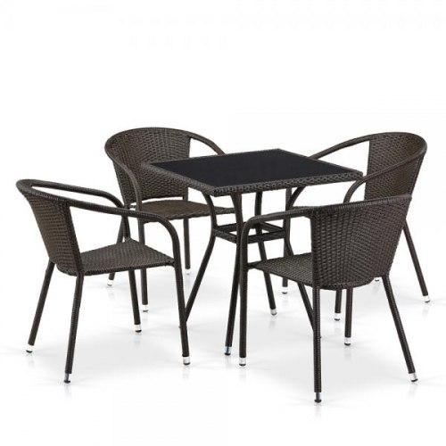 Обеденный комплект плетеной мебели из искусственного ротанга Brown 4Pcs