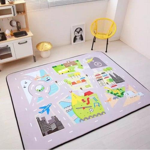 Детский толстый ковёр - мат Город с дорогами ТМ-60