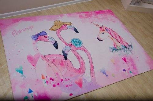 Детский коврик из микрофибры Единорог с фламинго ДП-16