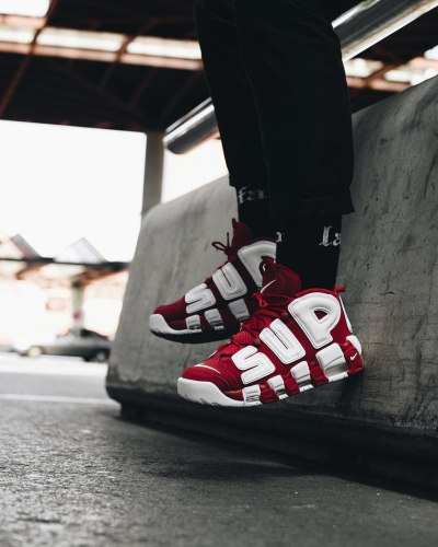 Supreme X Air More Uptempo Red And White Nike