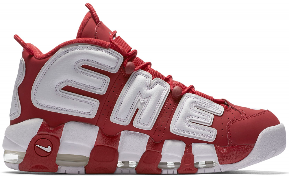 ᐉ Купить кроссовки Supreme X Air More Uptempo Red And White Nike ... 265d20ae79d82