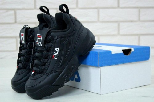 Disruptor II Leather «Black/Black» Men Fila