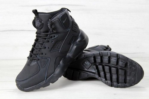 Кроссовки зимние! Air Huarache High Top Triple Black Winter Nike