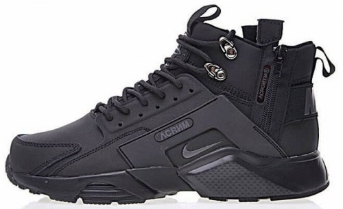 "Кроссовки зимние! Huarache X Acronym City MID Leather ""All Black"" Winter Nike"