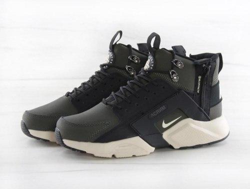 "Кроссовки зимние! Huarache X Acronym City MID Leather ""Haki Black"" Winter Nike"