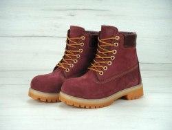 Ботинки зимние Bordo (бордовые) Timberland