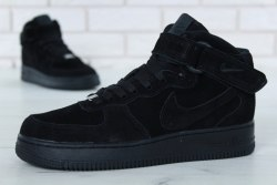 Кроссовки зимние С МЕХОМ! Air Force Winter ALL Black Nike