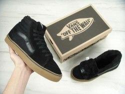 Кеды зимние SK8 - Hi. Winter Edition All Black Gum Vans