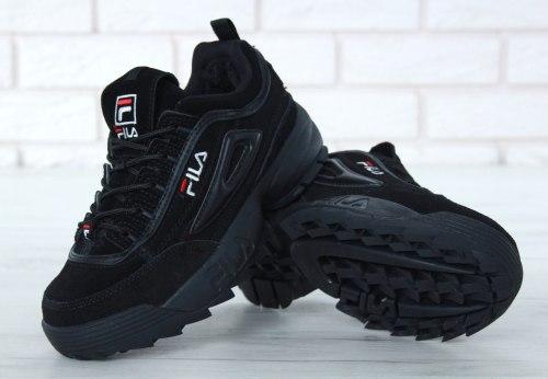 Кроссовки зимние с мехом Disruptor II Leather Black Winter Fila
